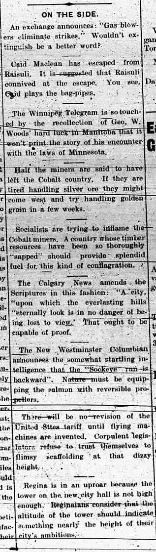 100 years ago today (according to the Edmonton Bulletin